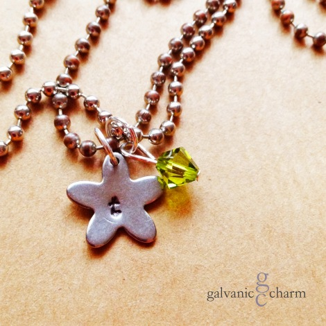 PERIDOT - Initial necklace, hand-stamped stainless steel star and peridot-colored Swarovski crystal birthstone. Stainless steel ball chain.