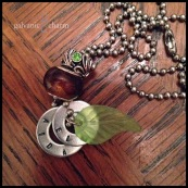 "AIDAN - Mother's necklace with 2 hand-stamped washers. Resin leaf charm, chestnut-colored glass and sage rhinestone beads. 22"" stainless steel ball chain. $40 as shown."