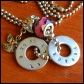 "ANGELILLY - Angel necklace with 2 hand-stamped washers. Stainless steel angel charm, mulberry-colored glass and aquamarine rhinestone beads. 24"" stainless steel ball chain. $42 as shown."