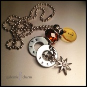 """BALTIC - Mother's necklace with 2 hand-stamped washers. Stainless steel and rhinestone starburst charm, clear acrylic initial disc, amber-colored glass and black rhinestone beads. 24"""" stainless steel ball chain. $45 as shown."""