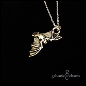 "BATTY - Pewter flying vampire bat charm on an 18"" extra-fine silver-plated cable chain. $15 as shown."