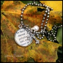 BELIEVE – Hand-laquered dictionary charm with pewter ivied cross charm, and wire wrapped pearl drop. 18″ stainless steel ball chain. $35 as shown.