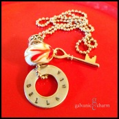 """BELLA MIA - Single hand-stamped washer (bella mia). Stainless steel key charm and red, white and gold-colored heart design glass bead. 24"""" stainless steel ball chain. $25 as shown."""