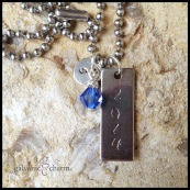 "CLASS - Personalized necklace, hand-stamped with 1"" stainless steel tag and initial disc, and wire-wrapped Swarovski crystal birthstone drop. Stainless steel ball chain. $22 as shown."