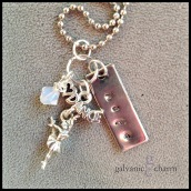 "DANCER - Hand-stamped stainless steel tag with pewter dancer charm and Swarovski crystal birthstone drop. 16"" stainless steel ball chain. $25 as shown."