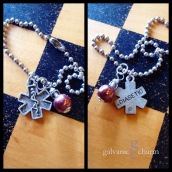 "DIABETIC - Medic alert bracelet with pewter ""diabetic"" charm and wire wrapped metallic chestnut bead. $15 as shown."