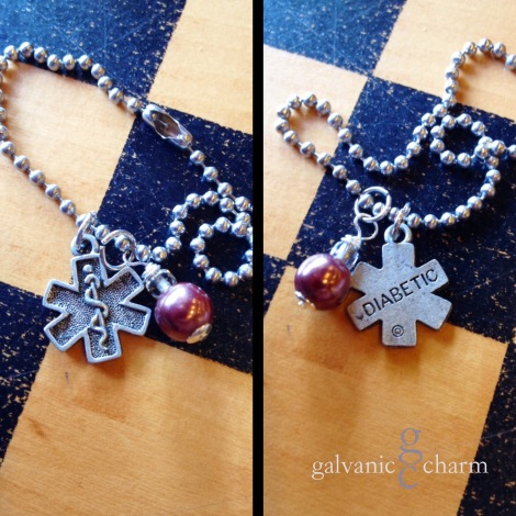 """DIABETIC - Wristlet with pewter diabetic medic alert charm, accented with a wire wrapped metallic nutmeg colored pearl. 7"""" stainless steel ball chain (adjustable). $15 as shown. Available directly or on Etsy."""
