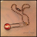 """FEISTY - Wristlet with a lacquer clip charm (feisty) on a 7"""" copper chain. $10 as shown."""
