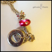 """FROGGY - Mother's necklace with 2 hand-stamped washers. Stainless steel frog charm, raspberry brushed pewter and white rhinestone and floral pink rhinestone beads. 24"""" stainless steel ball chain. $45 as shown."""