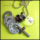 """HUDSON - Mother's necklace with 4 hand-stamped washers. Pewter layered cross, clear acrylic initial disc, plum-colored glass and black rhinestone beads. 24"""" stainless steel ball chain. $45 as shown."""