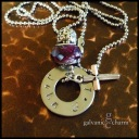 """JOHN - Bible themed necklace with single hand-stamped washer (john 3.16) in 3mm lowercase Bridgette font. Pewter beveled cross charm, purple acrylic and intricate pewter beads. 18"""" stainless steel ball chain. $30 as shown."""