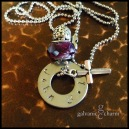 "JOHN - Bible themed necklace with single hand-stamped washer (john 3.16) in 3mm lowercase Bridgette font. Pewter beveled cross charm, purple acrylic and intricate pewter beads. 18"" stainless steel ball chain. $30 as shown."