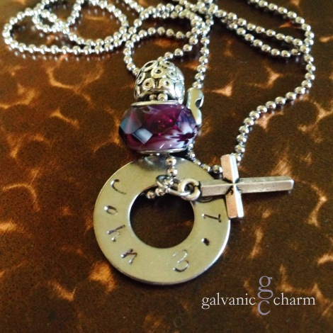 """JOHN - Bible themed necklace with single hand-stamped washer (john 3.16), pewter beveled cross charm, purple acrylic and intricate pewter beads. 18"""" stainless steel ball chain. $30 as shown."""