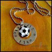 "KICK - Perfect for any girl (or team of girls) to show her soccer superstarness, this 1 3/8"" nickel silver washer, is hand-stamped with ""kick like a girl,"" and features an enameled soccer ball charm. 3mm lowercase Gothic font. Stainless steel ball chain. $25 as shown. Bulk discount available for orders of 10 or more."