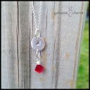 """LETTER DROP - Silver initial disc with wire wrapped birthstone drop. Shown with garnet (January). 18"""" extra-fine silver-plated cable chain."""