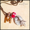 """MAPLE - Mother's necklace with 2 hand-stamped washers. Stainless steel maple leaf charm, brass and rhinestone initial charm, Red floral glass and beryl rhinestone beads. 24"""" brass ball chain. $48 as shown."""