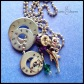 "MARLENE - Me necklace with 4 hand-stamped washers (honey badger marlene don't give a shit). Stainless steel dolphin charm, emerald Swarovski crystal birthstone, amethyst-colored glass and rhinestone beads. 24"" stainless steel ball chain. $45 as shown."
