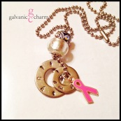 PINK RIBBON - 2 hand-stamped stainless steel washers (i am a - fighter). Pewter and pink glazed folded ribbon charm, silver glass bead and pewter bead accented with opals. Stainless steel ball chain. $40 as shown.