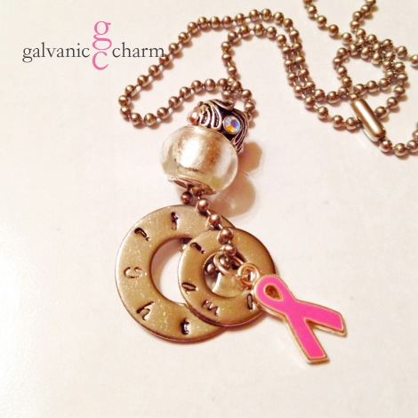 PINK RIBBON - 2 hand-stamped stainless steel washers (i am a - fighter). Pewter and pink glazed folded ribbon charm, silver glass bead and pewter bead accented with opals. Stainless steel ball chain. $40 as shown. Available directly or on Etsy.