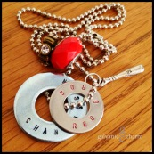 "RED BIRDS - Booster necklace with 2 hand-stamped washers with team name and mascot. Stainless steel baseball bat charm, red glass and brass and white rhinestone charms. 24"" stainless steel ball chain. $40 as shown."