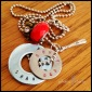 """RED BIRDS - Booster necklace with 2 hand-stamped washers with team name and mascot. Stainless steel baseball bat charm, red glass and brass and white rhinestone charms. 24"""" stainless steel ball chain. $40 as shown."""