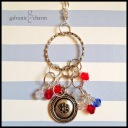 """REDSTONES - Grandma's necklace with pewter charm ring and cascades of eight Swarovski crystal birthstones representing each grandchild, and pewter stamped flower circle. 24"""" sterling silver plated chain. $55 as shown."""