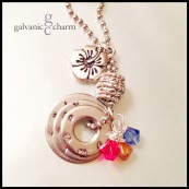 THREEBIE - Mother's necklace with 3 hand-stamped washers in 3mm lowercase Bridgette font. Stainless steel star hibiscus charm, 3 wire-wrapped Swarovski crystal birthstone drops, ornate pewter bead. Stainless steel ball chain. $45 as shown.