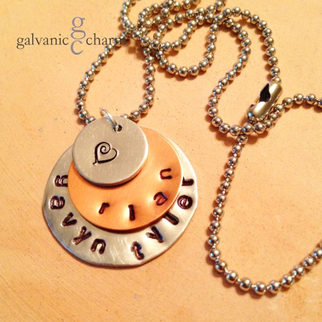 LAYERED - Mother's necklace with 3 hand-stamped distressed aluminum and copper circles, 3mm lowercase Gothic font. Stainless steel ball chain. $25 as shown.