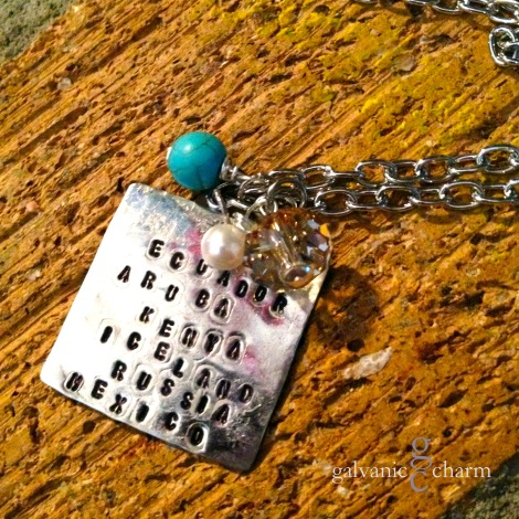 """PLACES - 1.5"""" distressed nickel silver rectangle, hand-stamped with your favorite travel destinations. 1.5mm uppercase Block font. Wire wrapped textured turquoise, pearl, and clear taupe glass beads. Shown with 22"""" 4mm silver plated cable chain. Other chain types and lengths available. $50 as shown."""
