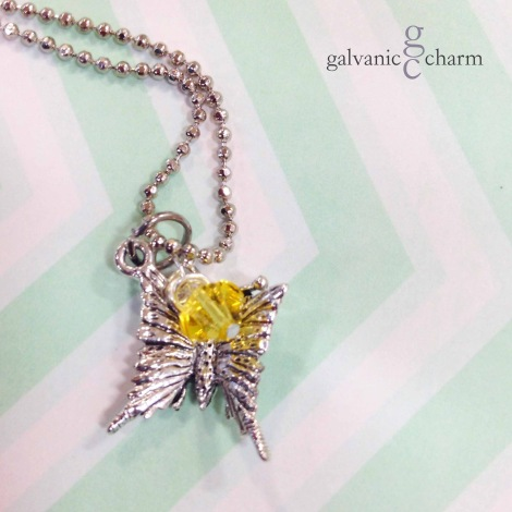 "LITTLE WINGS - Birthstone necklace with pewter butterfly charm and wire wrapped Swarovski crystal drop, pictured with citrine (November). 14"" rhodium plated light ball chain with lobster clasp. $20 as shown. Available directly or on Etsy."